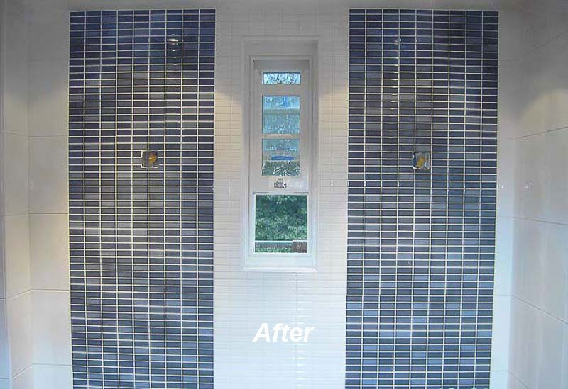 Mosaic effect tiles on rendered walls